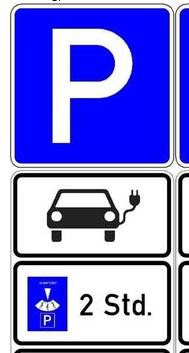 Sondertafel Parkplatz E-Auto - 470*630*2,5mm, Folie: Typ 1, Grund:blau, Schrift:weiß, Ausführung: Fl