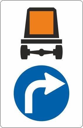 §52/15a-c Vorgeschriebene Fahrtrichtung für Fahrzeuge mit gefährlichen Gütern | Alrond Verkehrszeich