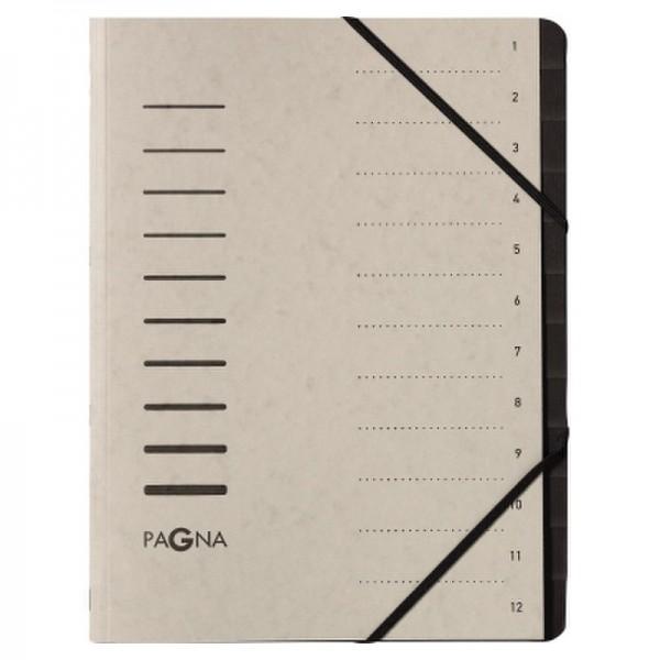 Pagna Ordnungsmappe 40059-21 DIN A4 12Fächer Pressspan h.grau