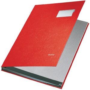 Unterschriftsmappe, PP-kaschiert, A4, 10 Fächer, rot