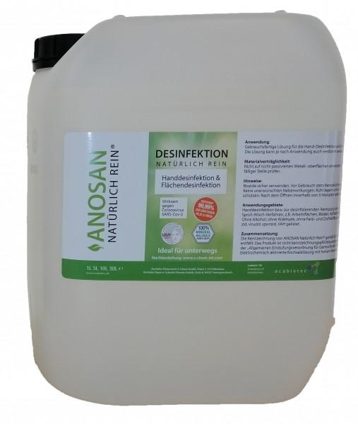 ANOSAN NATÜRLICH REIN® - 5 Liter Kanister für Handdesinfektion für anspruchsvolle und sensible Haut