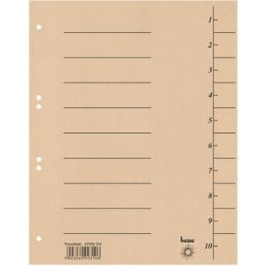 Trennblatt, Karton (RC), 250 g/m², 1-10, A4, chamois