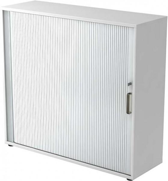 Rolladenschrank 120x40x1100cm Weiß/Silber