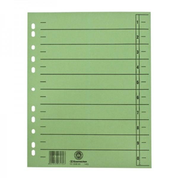 Soennecken Trennblätter 1462 DIN A4 230g RC Karton gn 100 St./Pack.