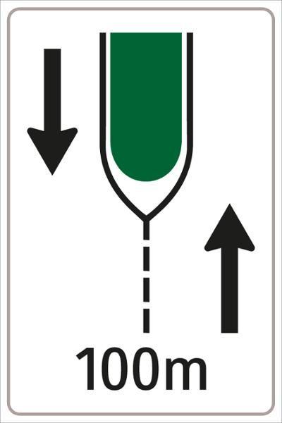 Vorankündigung einer Verkehrsinsel Bild 2 | flaches Verkehrszeichen