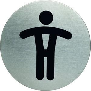 Schild PICTO, WC H., selbstklebend, Edelstahl, rund, Ø: 83mm, silber
