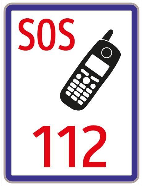 Internationaler Notruf SOS 112 | flaches Verkehrszeichen