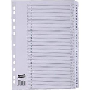 Register, Karton, 170 g/m², 1-31, Eurolochung, A4, 31 Blatt, weiß