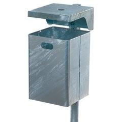 Abfallbehälter für außen, feuerverzinkt, Ascher integriert, 50 l.