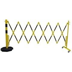 Sperrpfosten mit Scherengitter, Rundrohr Ø 60 mm, mit mobiler Fußplatte, gelb /