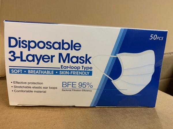 Einweg-Atemschutzmaske 3-lagig - (Pack=50 Stück)