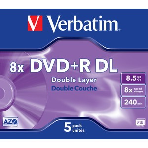 DVD+R, Double Layer, Jewelc., einmalbeschreibb., 8,5GB, 240 min, 8x