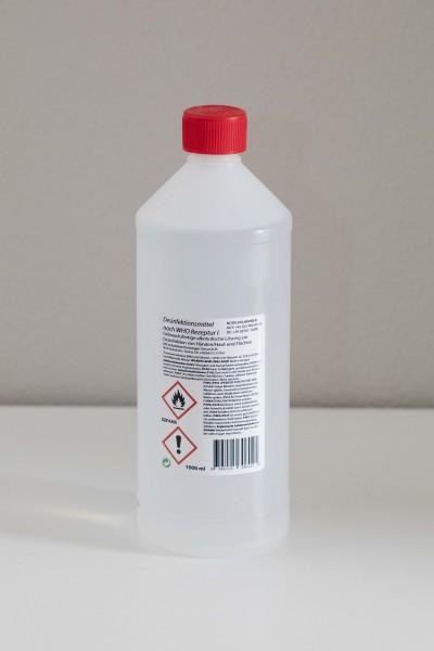 1 Liter Flasche Hände- und Flächendesinfektionsmittel nach WHO Rezeptur