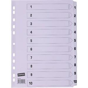 Register, Karton, 170 g/m², 1-10, Eurolochung, A4, 10 Blatt, weiß