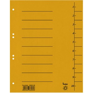 Trennblatt Intensiv, Karton, 210 g/m², 1-10, A4, gelb