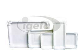 Pappteller eckig 9x15cm weiß
