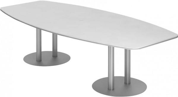 Konferenztisch 280x130/85Weiß/Silber