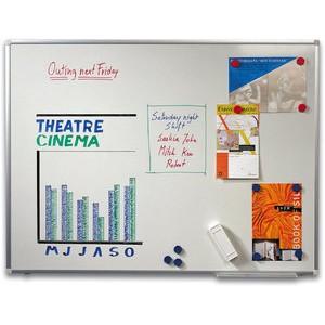 Schreibtafel, emailliert, magnetisch, 150x100cm, Alurahmen