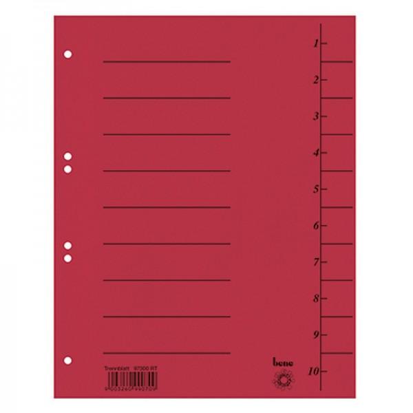 Bene Trennblatt 97300RT DIN A4 Karton rot