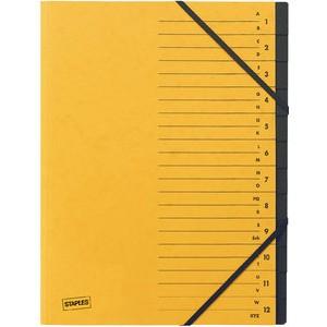 Ordnungsmappe, Karton, Eckspanngummi, A4, 12 Fächer, gelb