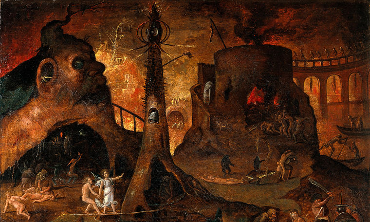 An_angel_leading_a_soul_into_hell._Oil_painting_by_a_followe_Wellcome_V0017388