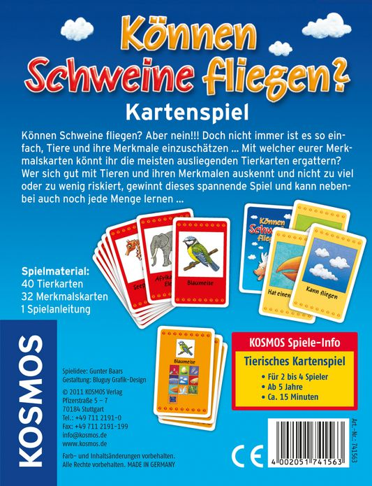 k nnen schweine fliegen das kartenspiel kinderspiele spiele spielware kosmos. Black Bedroom Furniture Sets. Home Design Ideas