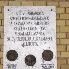 Második világháború, szegedi bombatámadások-emléktábla
