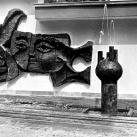 Plasztikus samott térelválasztó fal és szökőkút