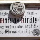 Mátyás király emléktábla