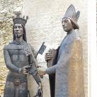Nagy Lajos király és Vilmos középkori pécsi püspök szoborkompozíciója