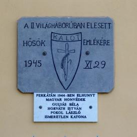 II. világháború hősi halottjainak emlékére
