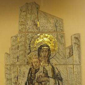 Szűz Mária a gyermek Jézussal-mozaik