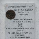 Szittár Gyula emléktáblája