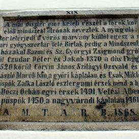 Műemlék tábla XIX.