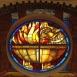 I. számú ravatalozó: Attila temetése: freskó és üvegablak