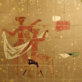 Kerámiafal - Fürdőző lányok