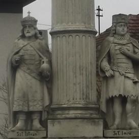 Patrona Hungariae-oszlop Szent István és Szent Imre mellékalakokkal
