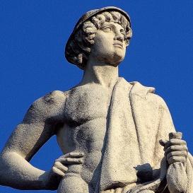 A Néprajzi Múzeum attikájának allegorikus szobrai: Kereskedés (4.)