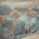 Gabonáshajót kirakó munkások