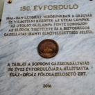 Soproni gázszolgáltatás 150. évforduló - emléktábla