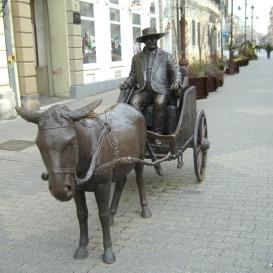 Rippl-Rónai József szamárfogatos kordéján