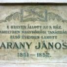 Arany János első nagykőrösi lakóhelyét jelző emléktábla