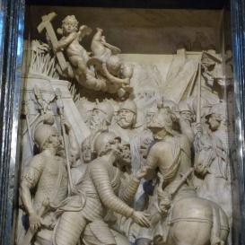 Gianfrancesco Aldobrandininek Magyarországon a törökök ellen vezetett hadjáratait bemutató dombormű és felirat