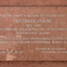 Emléktábla Einczinger Ferencről