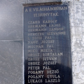 II. világháborúban elhunytak emlékére