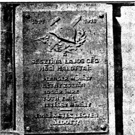 Sesztina-cég hősi halottainak emléktáblája