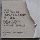 Lukács Margit-emléktábla