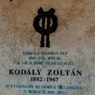 Kodály Zoltán emléktáblája