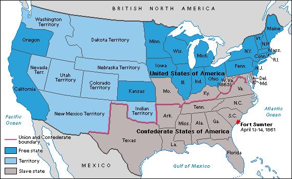 USA map circa 1863