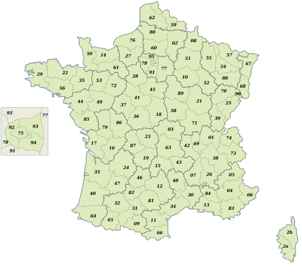 Carte issue de Wikipedia : Départements et régions de France par Bayo (sous licence GFDL)